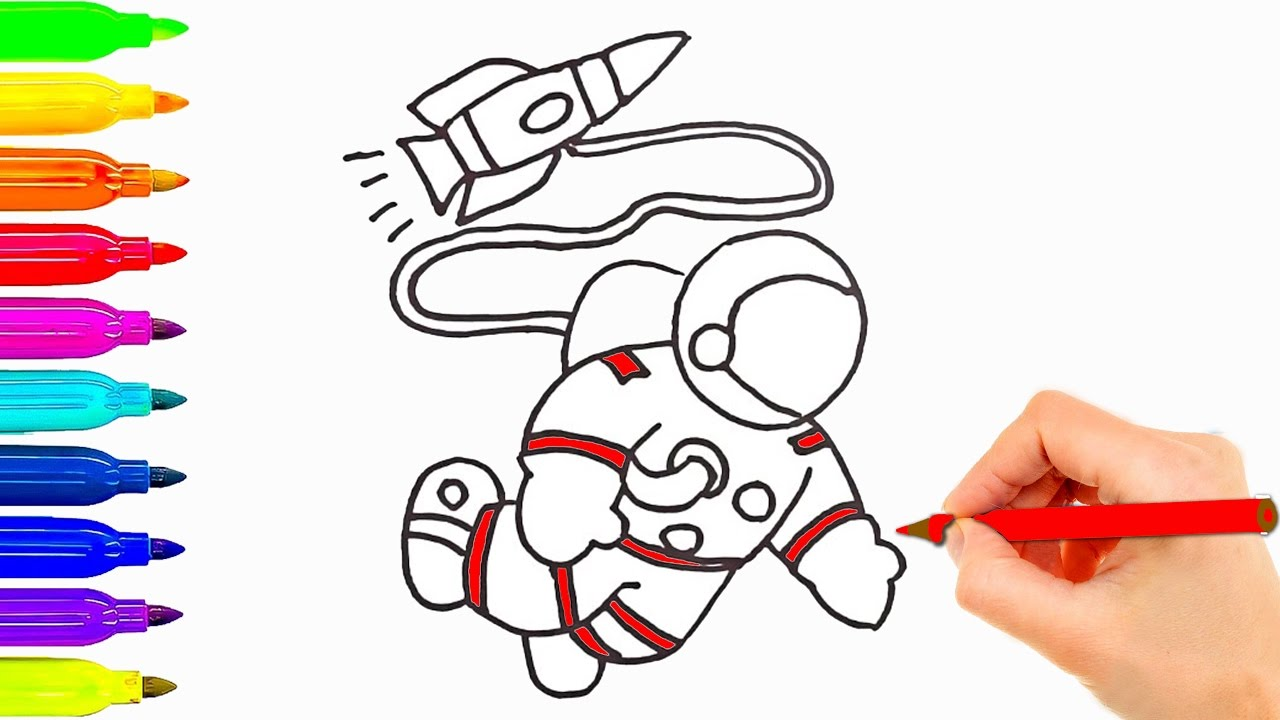 1280x720 How To Draw For Kids Astronaut W Spaceship Coloring Pages