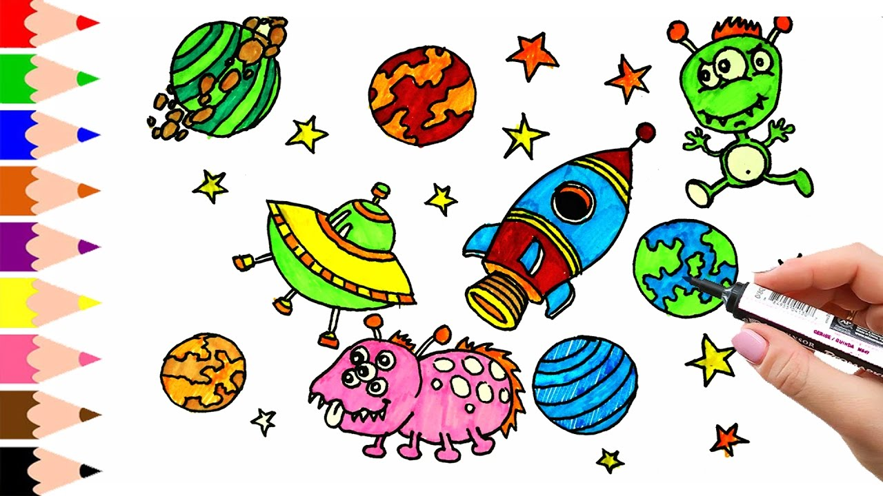 1280x720 How To Draw Spacecraft And Space, Coloring Pages For Kids