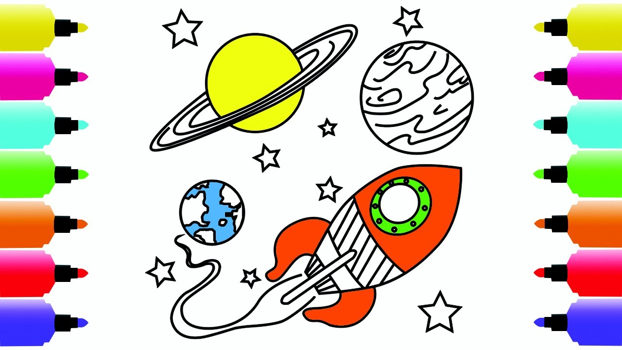 1280x720 Spaceship Coloring Pages For Children How To Draw Spaceship