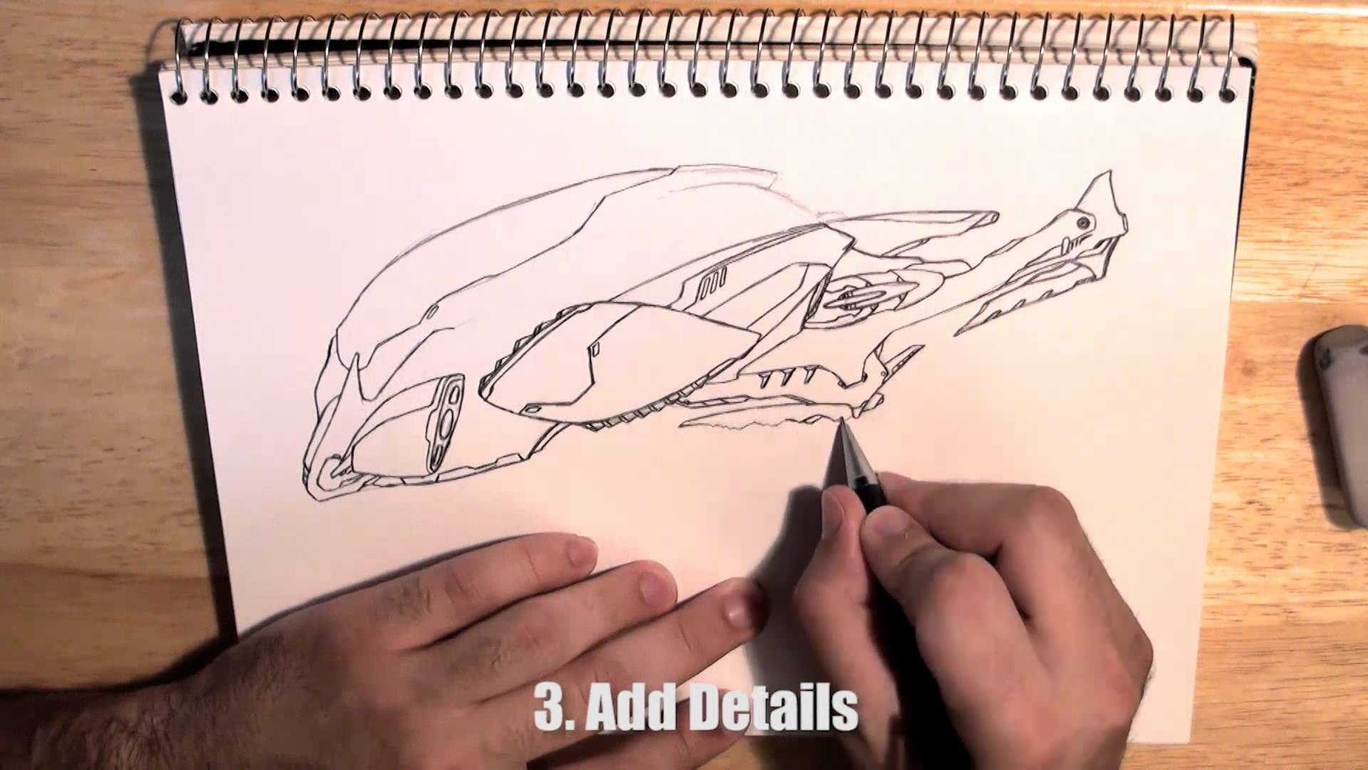 1920x1080 Sci Fi Spaceship Design How To Step By Step Drawing Tutorial