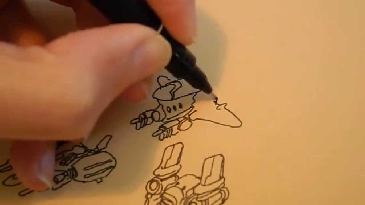 1280x720 Spaceship Thumbnail Drawing