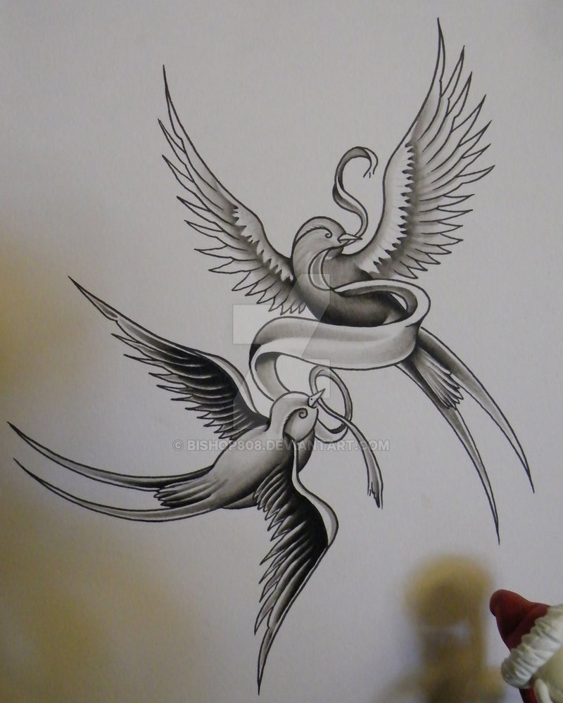 800x999 Black Ink Two Flying Sparrows With Ribbon Tattoo Design