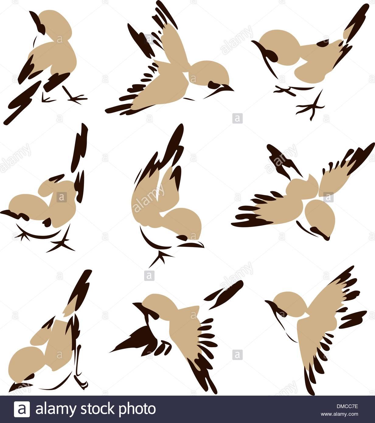 1233x1390 Stylish Flying Bird Painting Drawing Set Stock Vector Art