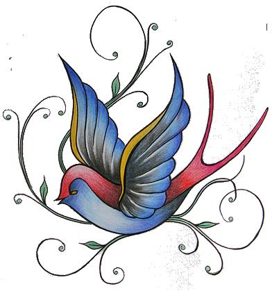 392x419 Colored Sparrow Tattoo Design