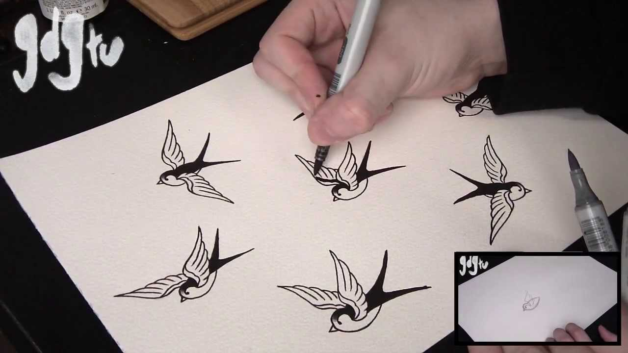 1280x720 Old School Swallow Sparrow Tattoo Flash Shading And Colouring