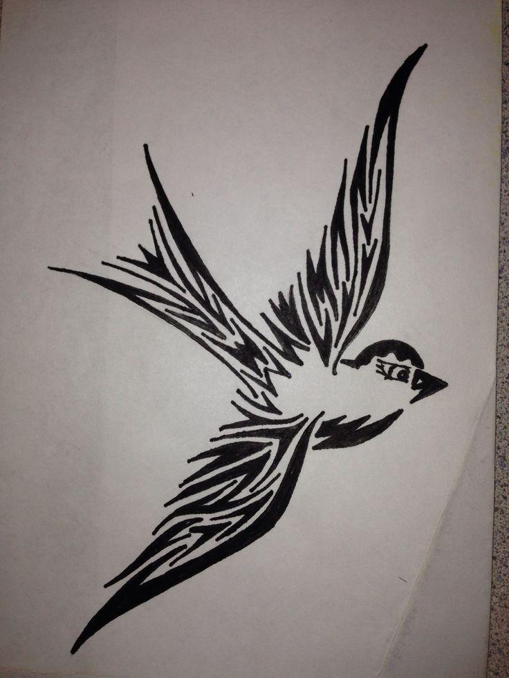 736x981 Tribal Robin Sparrow Pen Drawing Henna Tattoo