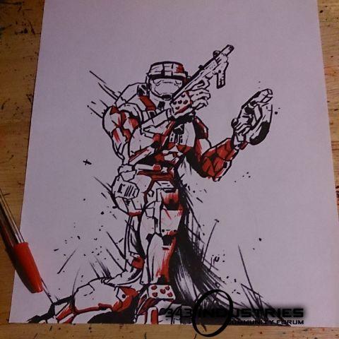 480x480 Halo 2 Spartan Drawing In Progress