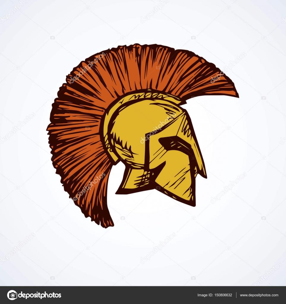 963x1024 Spartan Helmet. Vector Drawing Stock Vector Marinka