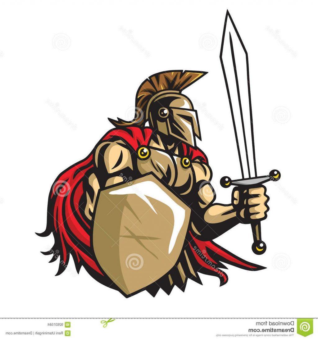 1024x1095 Unique Spartan Warrior Vector Mascot Logo Drawing Illustration