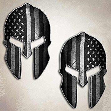 355x355 American Flag Subdued Spartan Helmet Decal Set