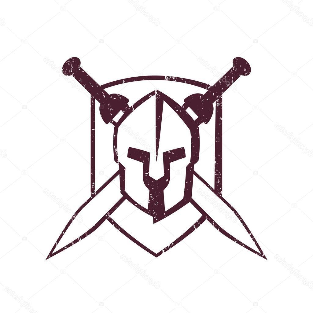1024x1024 Hd Stock Illustration Spartan Helmet With Crossed Swords Cdr