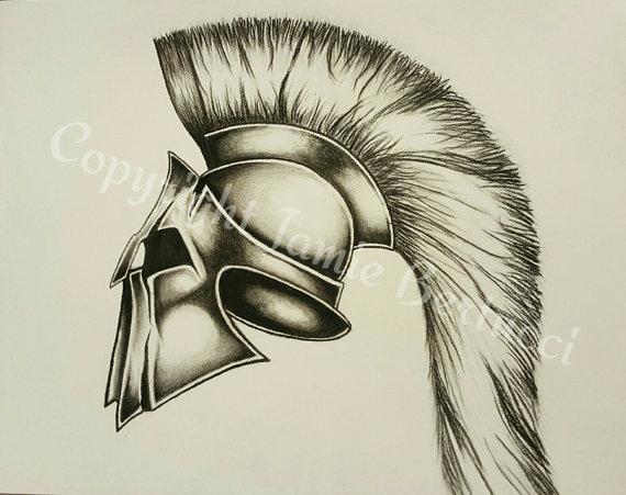 570x451 Original 9x12 Charcoal Roman Galea Helmet Drawing