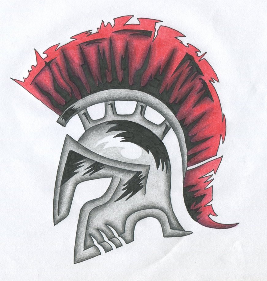 871x918 Spartan Helm With Red Hair