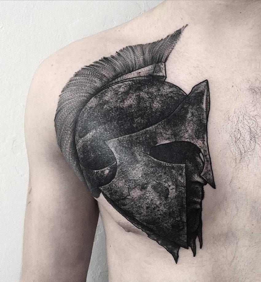 850x919 Spartan Helmet Best Tattoo Design Ideas