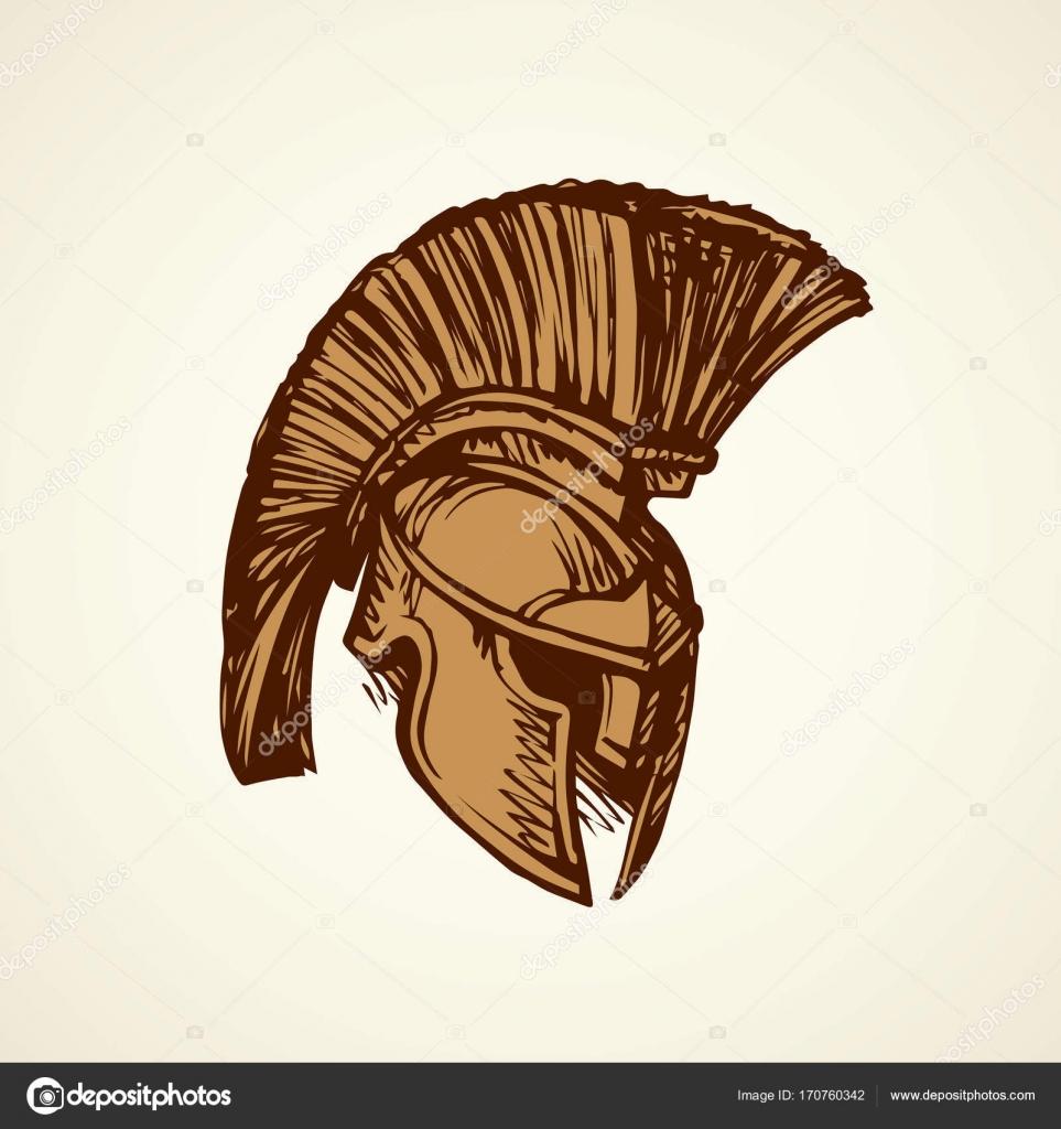 963x1024 Spartan Helmet Drawing Spartan Helmet. Vector Drawing Stock