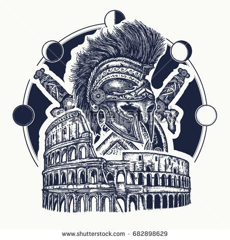 450x470 Spartan Helmet Crossed Swords, Spartan Shield And Colosseum Tattoo