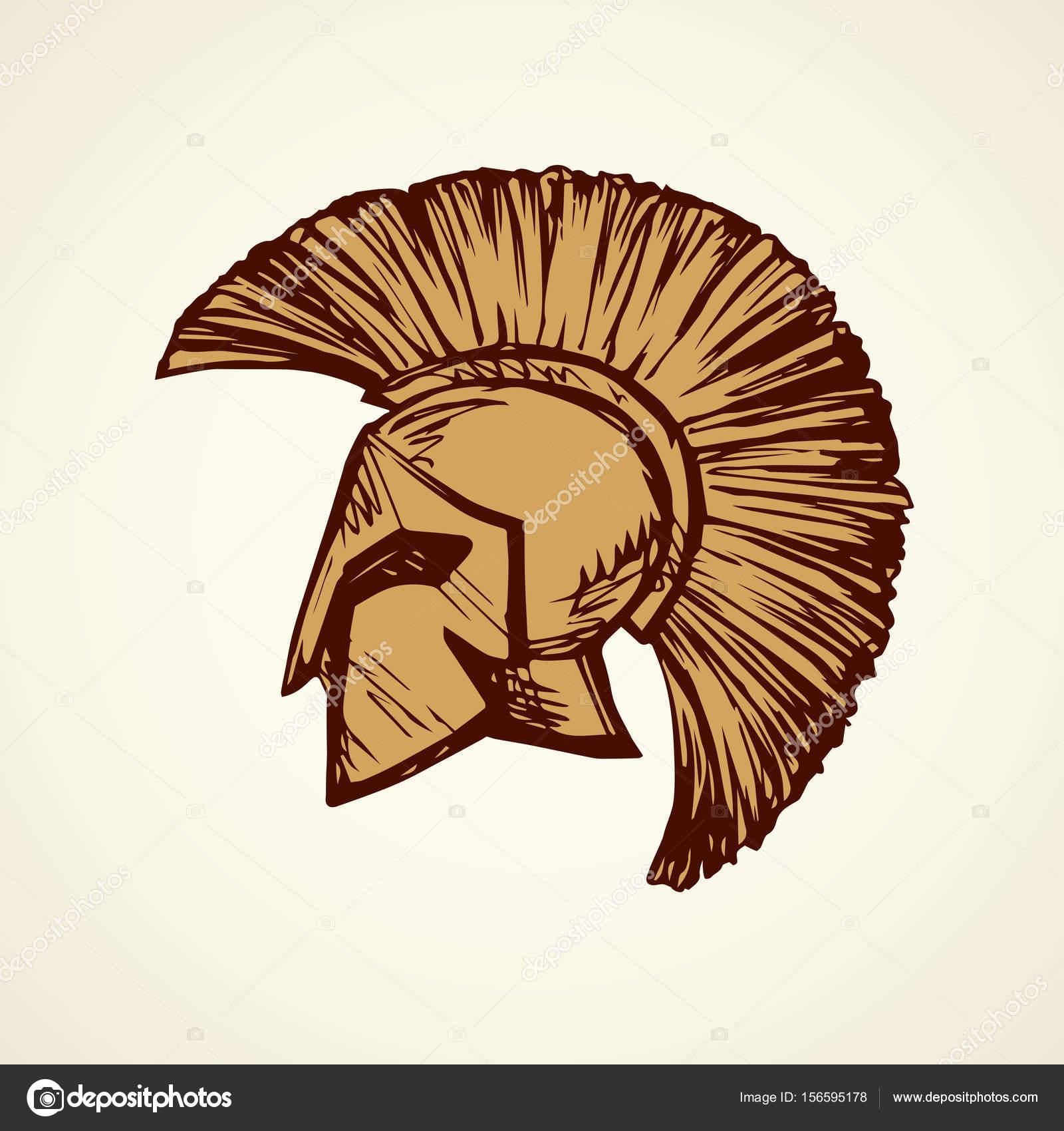 1600x1700 Spartan Helmet. Vector Drawing Stock Vector Marinka