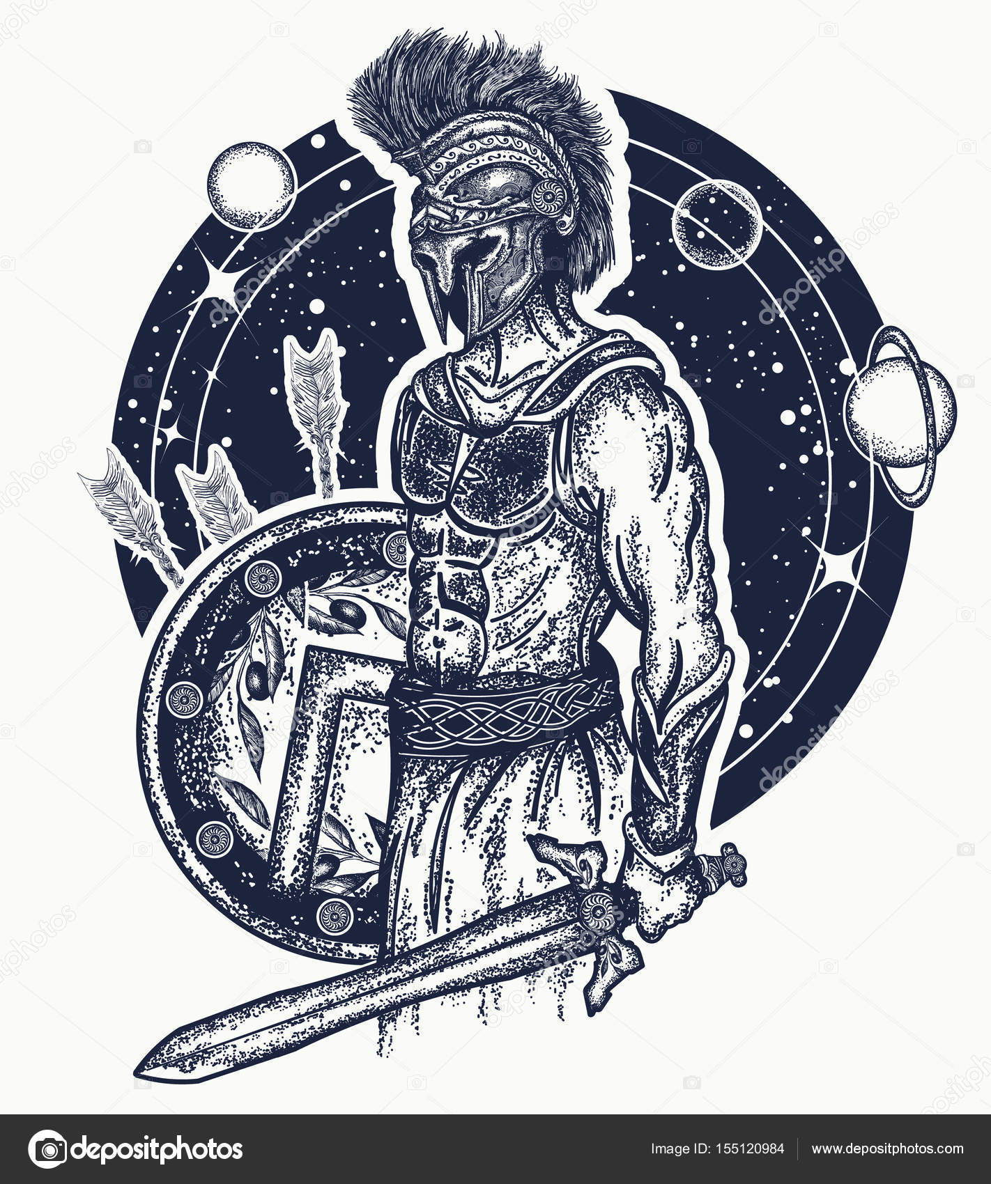 1422x1700 Gladiator Spartan Warrior Holding Sword And Shield Tattoo Art