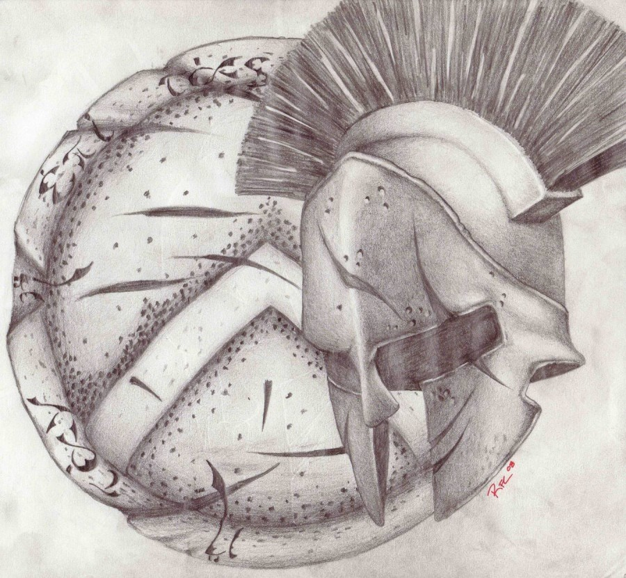 900x831 Personal Spartan Shield And Helmet Tattoo Concept