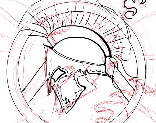 500x392 Sketch Helm + Shield Samuele Storari