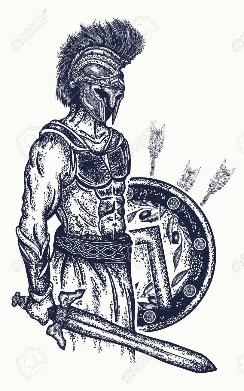 812x1300 Warrior Tattoo And T Shirt Design. Gladiator Spartan Warrior