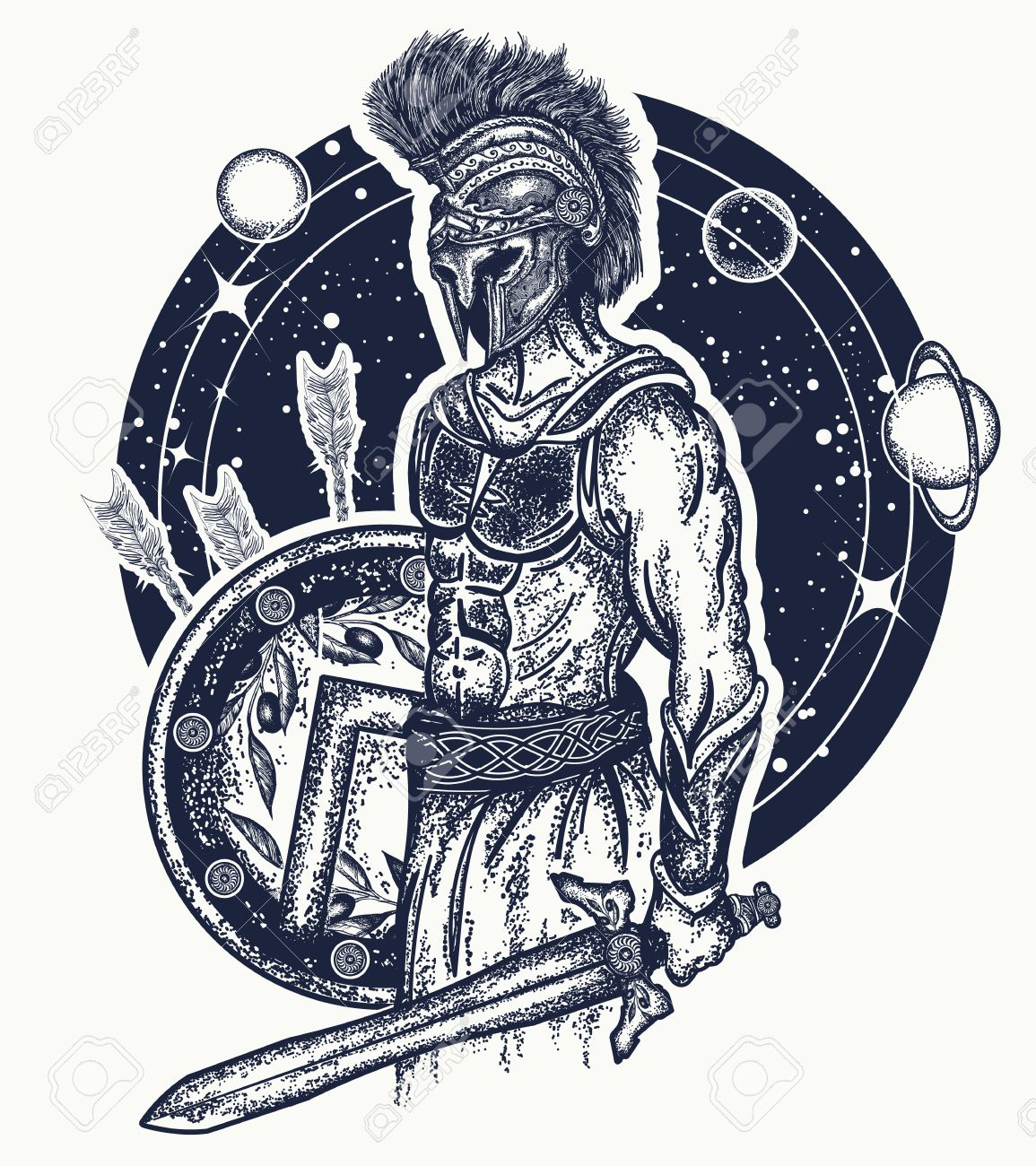 1155x1300 Gladiator Spartan Warrior Holding Sword And Shield Tattoo Art