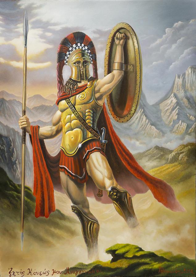 635x900 Spartan Warrior Drawing By Panagiotis Athanasiadis