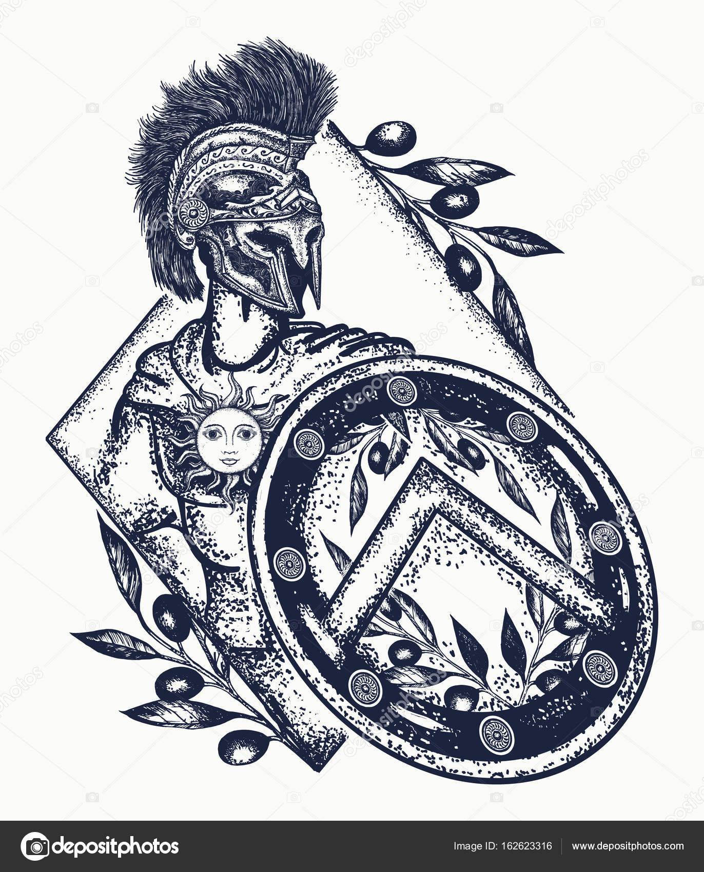 1372x1700 Spartan Warrior Tattoo Art. Legionary Of Ancient Rome Stock