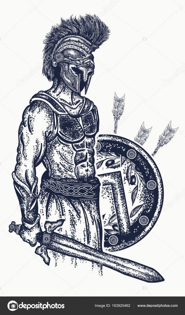 602x1024 Warrior Tattoo And T Shirt Design. Gladiator Spartan Warrior