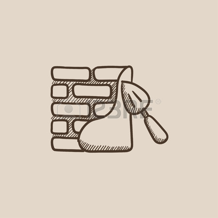 450x450 Spatula With Brickwall Vector Sketch Icon Isolated On Background