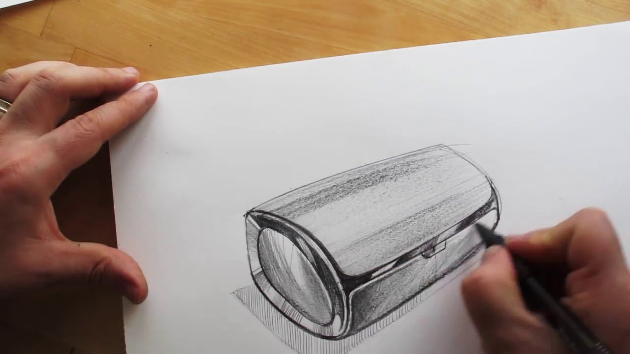 1280x720 How To Draw. Product Design Sketching. Bluetooth Speaker Design