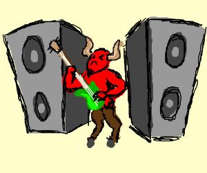 300x250 Blasting Speakers, Guitar And Guy With Horns