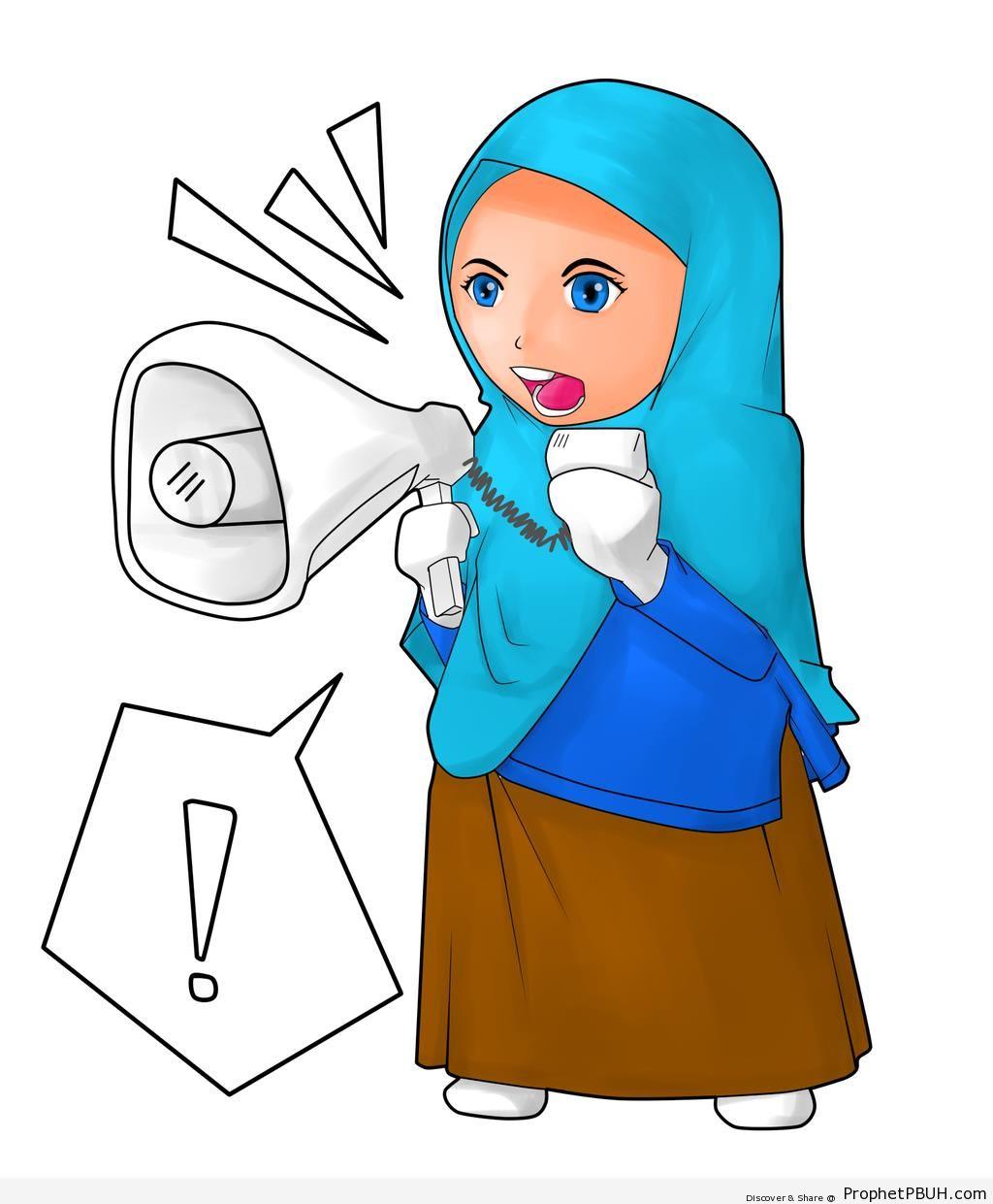 1024x1241 Muslim Woman Speaking Through Loudspeaker (Drawing) Drawings