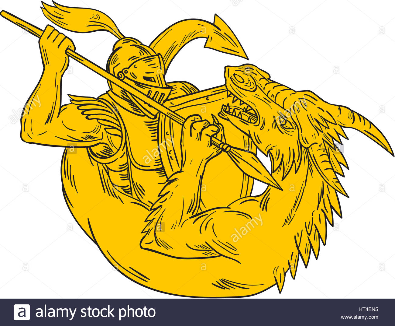 1300x1071 Knight Fighting Dragon Spear Drawing Stock Photo, Royalty Free