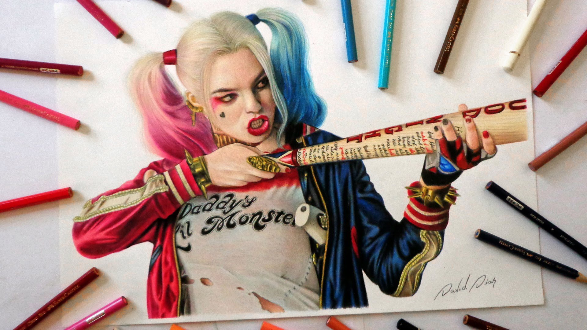 1920x1080 Speed Drawing Harley Quinn Suicide Squad