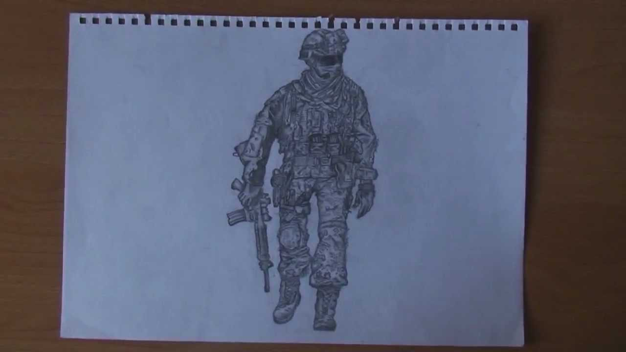 1280x720 Mw2 Soldier Drawing