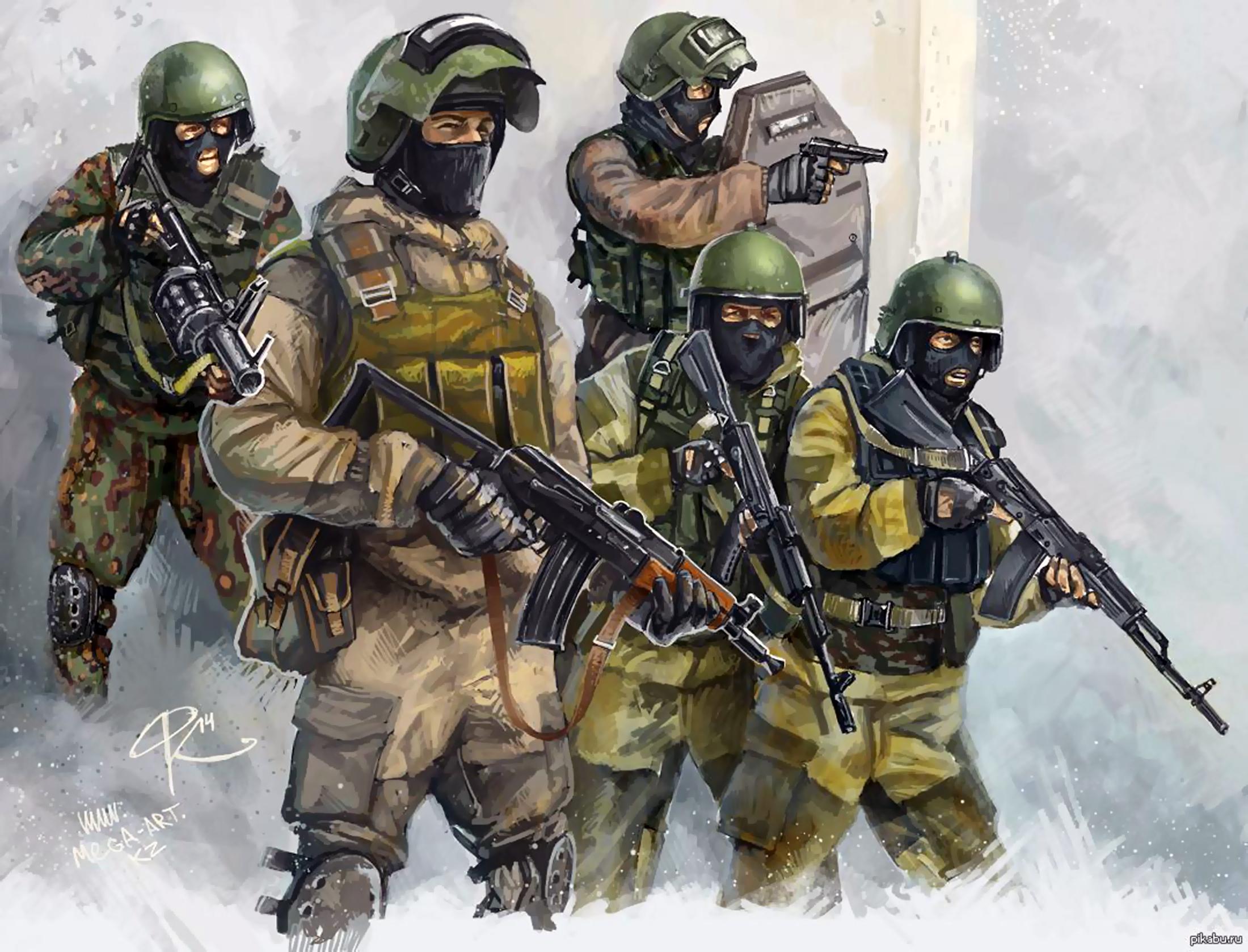 2200x1678 Russian Spetsnaz Soldiers 21st Century War Art