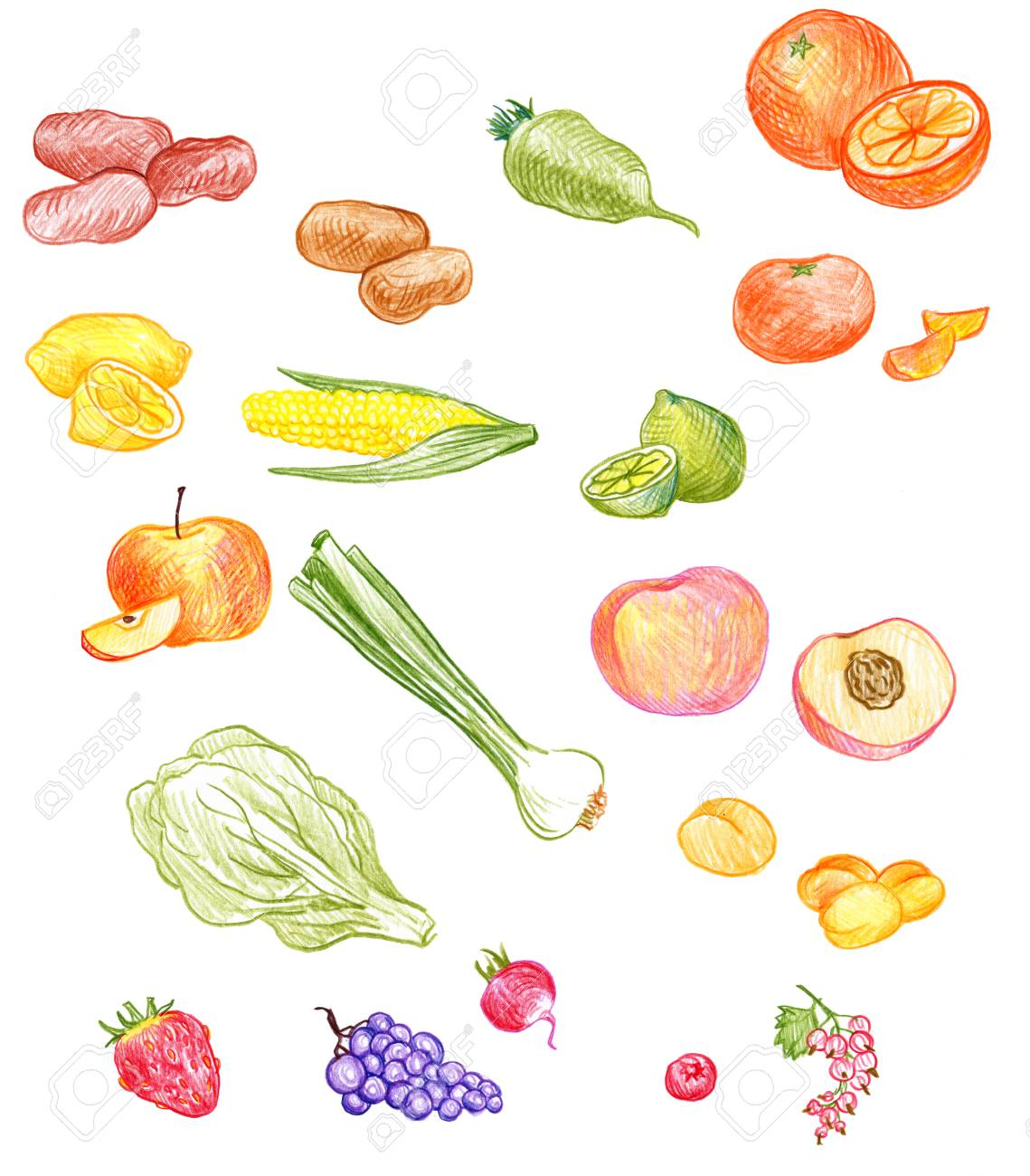 1139x1300 Vector Set Of Food Drawing By Color Pencil, Doodle Spices, Fruits