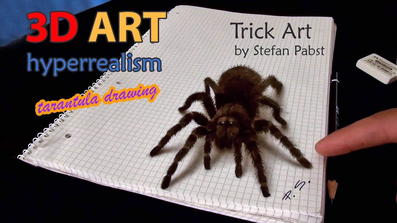 1280x720 3d Spider Drawingamazing Realistic Illusion!