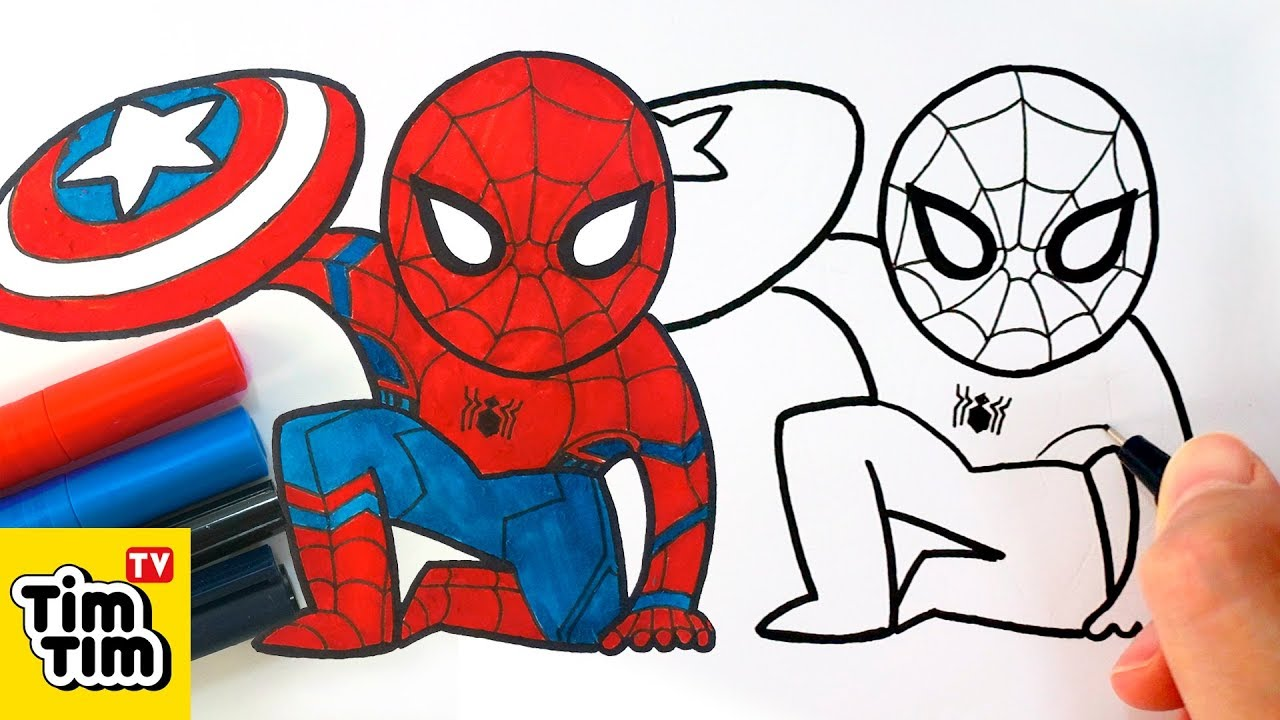 1280x720 How To Draw Cute Spider Man Civil War Easy Step By Step For Kids
