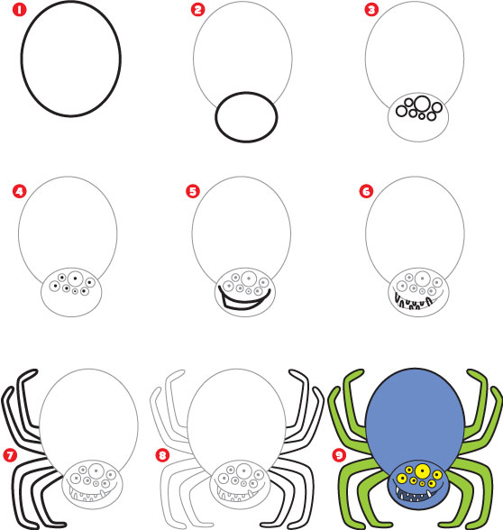 558x588 How To Draw A Spider Art Drawing Pages Spider