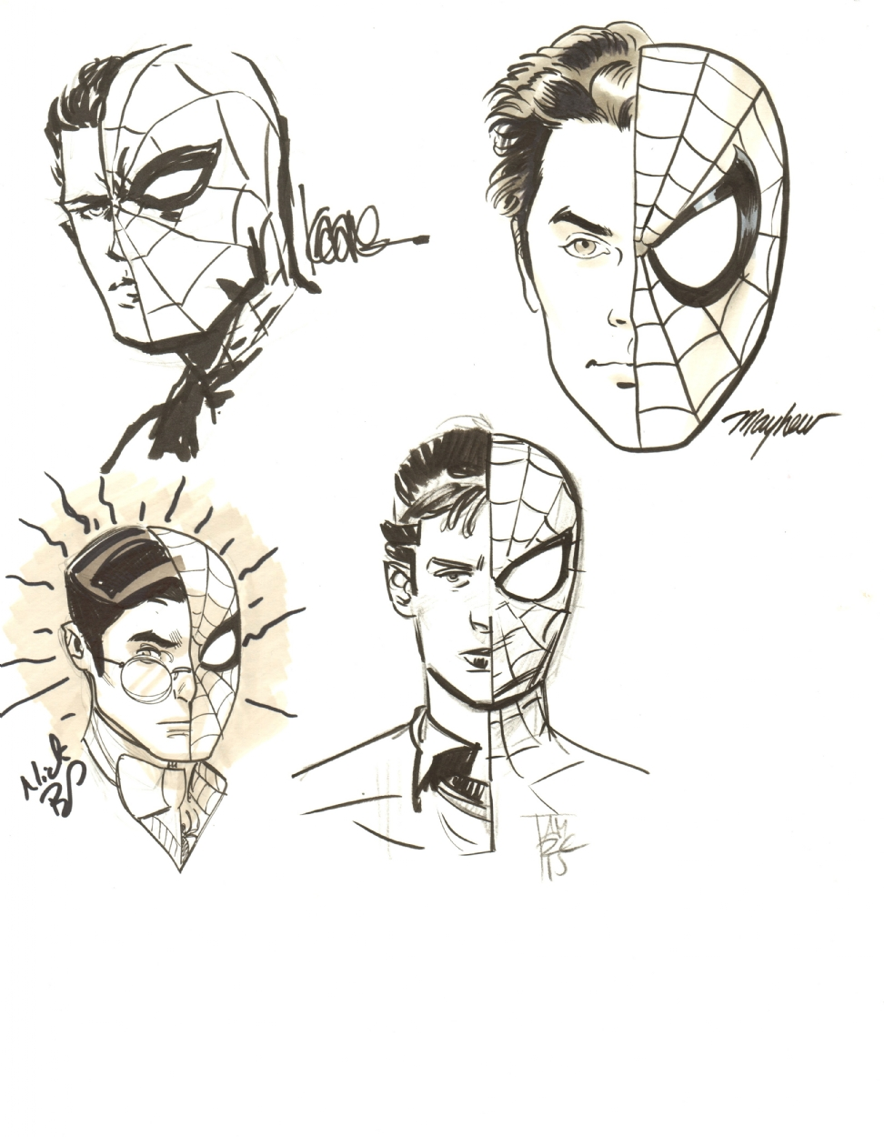 972x1250 Spider Manpeter Parker Sketches By Kaare Andrews, Mike Mayhew