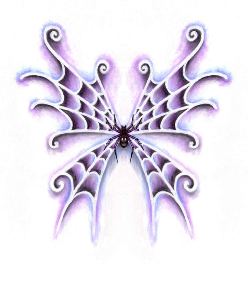 850x967 Spider Web Tattoo Wings By