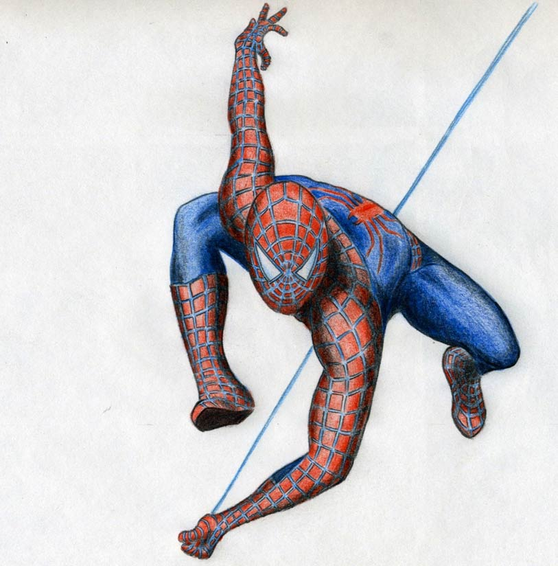 813x824 Draw Spiderman In Action