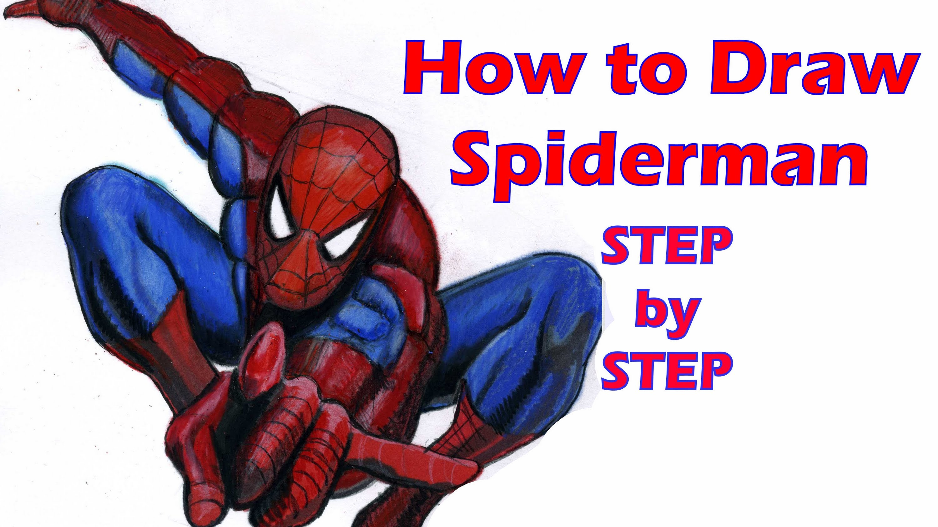 3000x1688 How To Draw Spiderman Step By Step