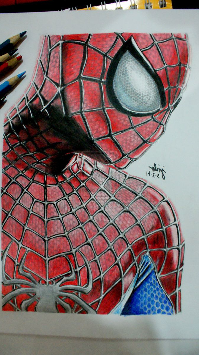 670x1192 3d Drawings Of Spiderman With Pencil