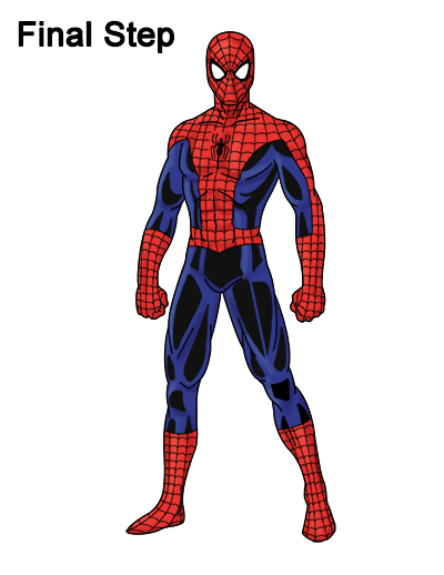 400x518 How To Draw Spider Man (Full Body)