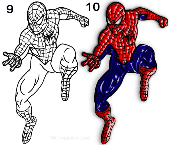 600x511 How To Draw Spider Man (Step By Step Pictures) Cool2bkids