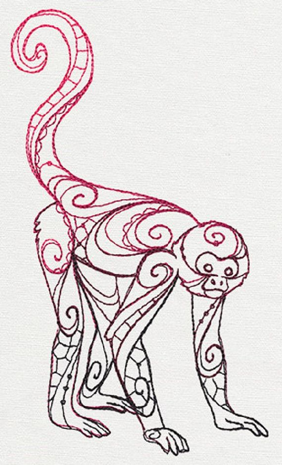 570x940 The Delicate Ones Spider Monkey Embroidered Cotton By Remimartin