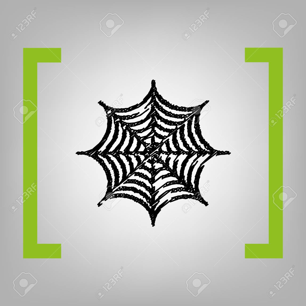 1300x1300 Spider On Web Illustration. Vector. Black Scribble Icon In Citron